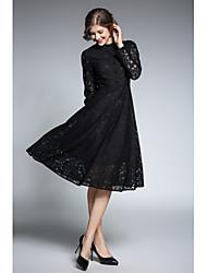 abordables -Trapèze Robe Femme Soirée Sortie Sexy Vintage,Jacquard Mao Mi-long Manches Longues Autres Printemps Automne Taille Normale Non Elastique