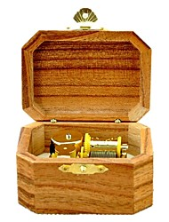 Music Box Wind-up Toy Toys Octangular Wood Pieces Unisex Birthday Gift