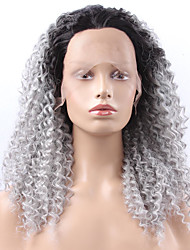 cheap -Women Synthetic Wig Lace Front Medium Length Long Wavy Kinky Curly Afro Jheri Curl Grey Ombre Hair Dark Roots Natural Hairline Lolita Wig