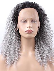 preiswerte -Synthetische Lace Front Perücken Wellen Kinky Curly Natürlicher Haaransatz Dunkler Haaransatz Gefärbte Haarspitzen (Ombré Hair) Grau Damen