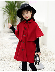 cheap -Girls' Solid Jacket & Coat,Wool Cotton Winter Fall Vintage Cute Casual Orange Red