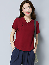 cheap -Women's Daily Vintage Chinoiserie T-shirt,Solid V Neck Short Sleeves Cotton Linen