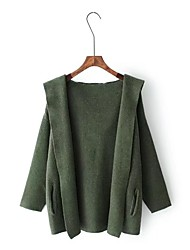 Women's Going out Casual/Daily Simple Winter Coat,Solid Hooded Long Sleeve Regular Wool Others