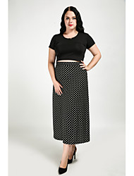 cheap -Women's Club Work Plus Size A Line Skirts - Polka Dot, Knitting