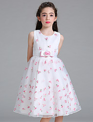 cheap -Ball Gown Knee Length Flower Girl Dress - Organza Sleeveless Jewel Neck with Embroidery Flower(s) Sash / Ribbon by YDN