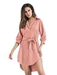 economico -Largo Vestito Da donna-Casual Tinta unita Colletto Mini Manica a 3/4 Cashmere Autunno A vita bassa Anelastico Sottile Medio spessore