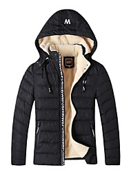 cheap -Men's Padded Coat,Street chic Daily Solid-Cotton Long Sleeves