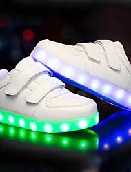 Boys' Shoes PU Fall Winter Light Up Shoes Sneakers LED For Casual Outdoor Black White