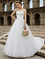 cheap -Ball Gown Strapless Chapel Train Tulle Glitter Lace Custom Wedding Dresses with Beading Bow(s) by QQC Bridal