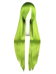 cheap -Synthetic Hair Wigs kinky Straight Capless Cosplay Wig Long Green