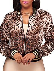 cheap -Women's Going out Club Vintage Street chic Spring Fall Jacket,Print Leopard V Neck Short Polyester