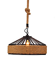 cheap -Loft Vintage Industrial Hemp Rope Pendant Lights Metal Living Room Dining Room Kitchen Bar Cafe Light Fixture