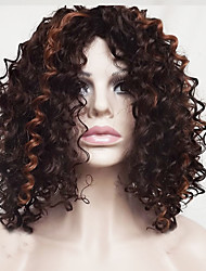 cheap -Synthetic Hair Wigs Wavy Jerry Curl Highlighted/Balayage Hair Bob Haircut With Bangs Capless Party Wig Natural Wigs Short Medium Brown