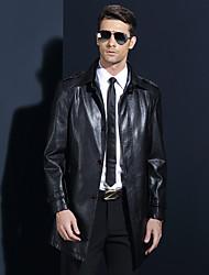 Men's Plus Size Simple Winter Trench Coat,Solid Shirt Collar Long Sleeve Regular Lambskin