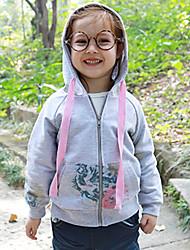cheap -Girls' Floral Flower Blouse,Cotton Spring Fall Long Sleeve Flower Style Leisure Korean Lovely Beige Gray