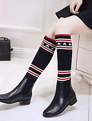 Women's Shoes Knit Synthetic Microfiber PU Fall Winter Comfort Slouch Boots Boots Low Heel Round Toe Knee High Boots Plaid For Casual