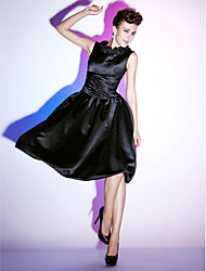 A-Line Princess Scoop Neck Knee Length Satin Cocktail Party Holiday Dress with Ruffles Ruching by TS Couture®