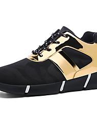 preiswerte -Damen Schuhe PU Frühling Herbst Komfort Sneakers Schnürsenkel Für Normal Schwarz Schwarz und Gold Schwarz und Silbern Schwarz/Rot