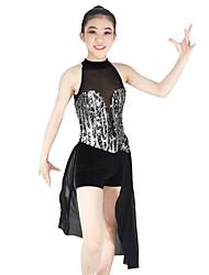 Jazz Dresses Women's Children's Performance Elastic Mesh Lycra Appliques Paillette Sleeveless Natural Dresses Headpieces