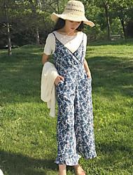 abordables -Mujer Simple Casual/Diario Verano T-Shirt Pantalón Trajes,Escote Redondo Floral Manga Corta