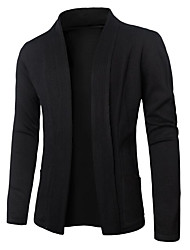 cheap -Men's Daily Solid Shirt Collar Cardigan, Long Sleeves Winter Fall Cotton
