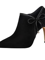 baratos -Mulheres Sapatos Pele Nobuck Primavera / Outono Conforto Saltos Vermelho / Rosa claro / Vinho