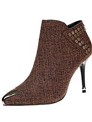 baratos -Mulheres Sapatos Tecido Inverno Outono Conforto Botas Salto Agulha Botas Curtas / Ankle Ziper para Casual Preto Café