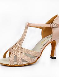 Недорогие -Для женщин Латина Шёлк На каблуках Для закрытой площадки Хрусталь С пряжкой Высокий каблук Черный Телесный Персонализируемая