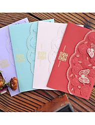 abordables -Doblado Superior Invitaciones De Boda Tarjetas de invitación Con mariposas Tema de ensueño Estilo Floral Papel perlado