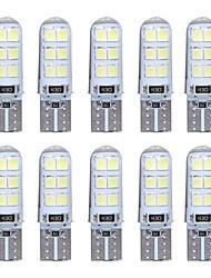 10 pcs t10 w5w led voiture lumière intérieure 2835 12smd lampe ampoule coin parking dôme lumière canbus auto voiture style dc12v