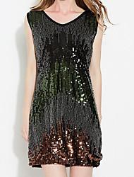 Moulante Robe Femme Sortie Couleur Pleine Col en V Au dessus du genou Sans Manches Coton Printemps Taille Normale Micro-élastique Moyen