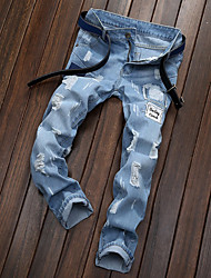 economico -Per uomo A vita medio-alta Casual Media elasticità Jeans Chino Pantaloni, Tinta unita Lino Primavera Estate Autunno