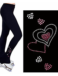 cheap -Figure Skating Footed Tights Women's Girls' Ice Skating Pants / Trousers Tracksuit Black Stretchy Performance Practise Skating Wear Heart