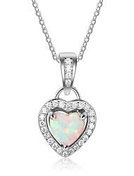 baratos -Mulheres Coração Colorido Colares com Pendentes Opala Prata de Lei Colares com Pendentes , Festa
