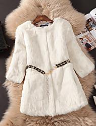 Недорогие -Для женщин На выход Осень Зима Пальто с мехом Круглый вырез,Простой Однотонный Обычная Длинный рукав,Полиэстер,Меховая оторочка