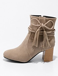 cheap -Women's Shoes Nubuck leather Winter Fashion Boots Boots Chunky Heel Round Toe Booties/Ankle Boots Lace-up For Casual Dress Yellow Beige