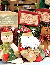 Недорогие -1pcs 21 * 44cm плед santa claus носок рождественский чулок мешок подарка мешок конфеты детей