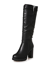 cheap -Women's Shoes PU Winter Fall Combat Boots Boots Knee High Boots for Casual Dress Black