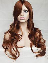 Women Synthetic Wig Capless Long Wavy Natural Wave Medium Auburn With Bangs Party Wig Halloween Wig Natural Wigs Costume Wig