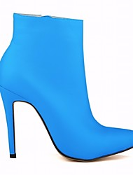 cheap -Women's Shoes Leatherette Winter Spring Combat Boots Boots Stiletto Heel Pointed Toe Booties/Ankle Boots Zipper for Casual Green Blue