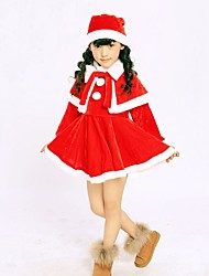 cheap -Girl's Birthday Going out Solid Dress,Cotton Winter Long Sleeve Ruffle Red