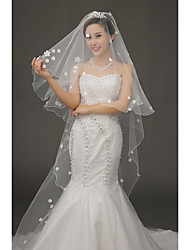 cheap -One-tier Wedding Veil Chapel Veils With Applique Tulle Wedding Accessories