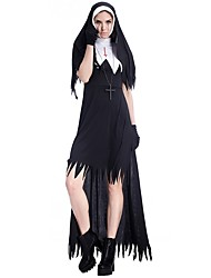 cheap -Nun Dress Cosplay Costume Masquerade Women's Halloween Carnival Day of the Dead New Year Festival / Holiday Halloween Costumes Black