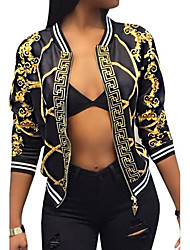 cheap -Women's Vintage Street chic Jacket-Color Block,Print V Neck