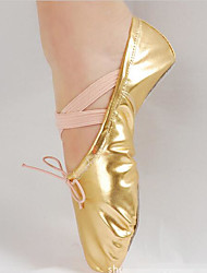 cheap -Women's Ballet Shoes Fabric / PU Full Sole Flat Heel Customizable Dance Shoes Gold / Silver / Practice