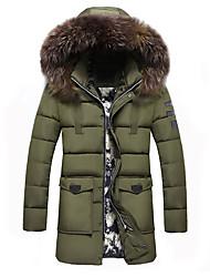 preiswerte -Herren Daunenjacke Mantel,Lang Einfach Lässig/Alltäglich Übergröße Solide-Polyester Polyester Langarm