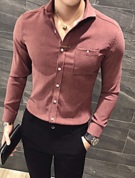 Men's Casual/Daily Simple All Seasons Shirt,Embroidery Shirt Collar Long Sleeves Polyester Medium