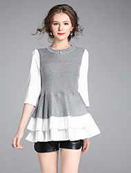 cheap -Women's Cute Street chic Blouse - Color Block, Patchwork
