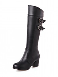 cheap -Women's Shoes PU Leatherette Fall Winter Comfort Novelty Fashion Boots Boots Chunky Heel Round Toe Knee High Boots Buckle For Party &