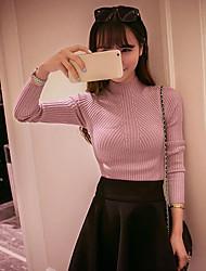 Normal Pullover Femme Sortie Couleur Pleine Col Roulé Manches Longues Autres Printemps Hiver Moyen Micro-élastique